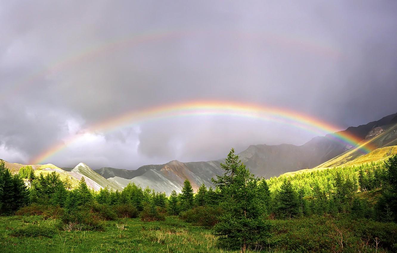 Фото обои горы, радуга, Природа после дождя