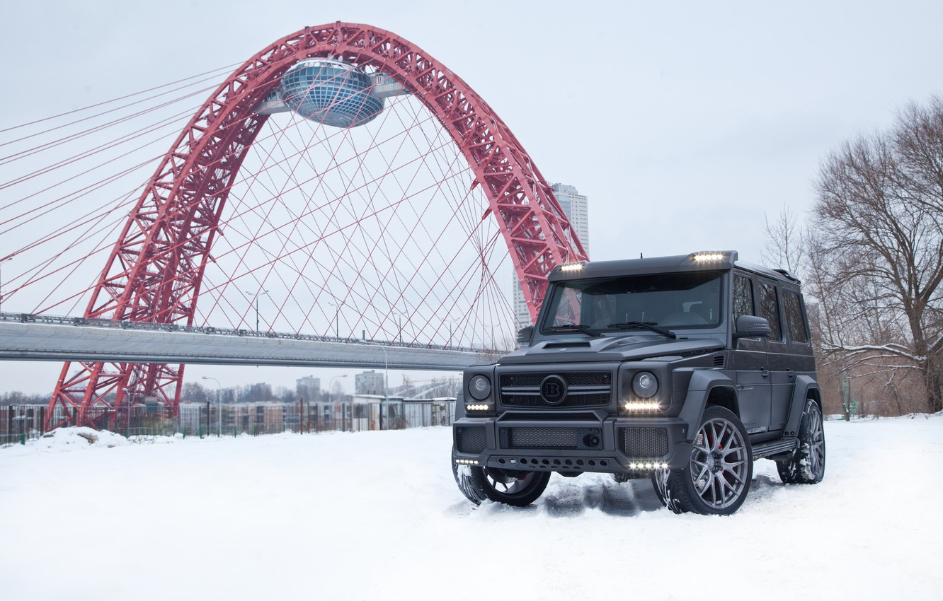 Фото обои Mercedes, Brabus, AMG, Moscow, W463, G65, Russia Winter, Carbon Pro