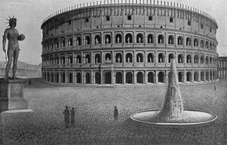 Фото обои Рим, античность, Амфитеатр, colosseum would have looked like, расцвет колизея