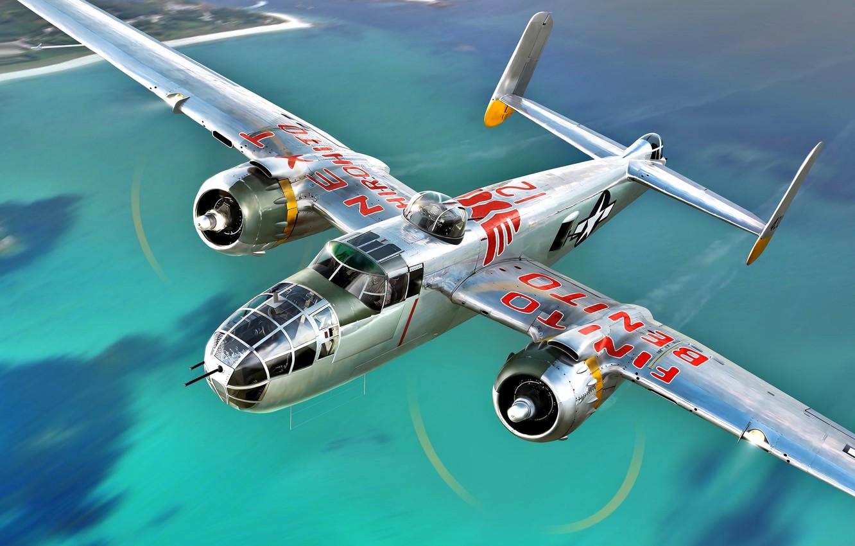 Обои средний, двухмоторный, b-25j, американский, North american. Авиация foto 8