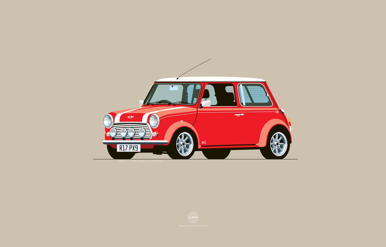 Фото обои Красный, Авто, Mini, Cooper, Минимализм, Рисунок, Машина, Mini Cooper, Арт, Мини, Nik Schulz, R17PX9, R17-PX9, …