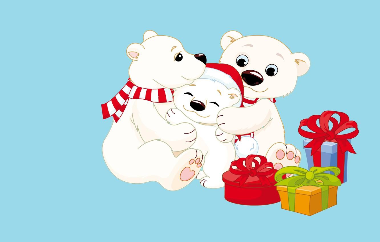 Фото обои настроение, праздник, подарок, новый год, вектор, семья, арт, мишка, мама, шапочка, папа, детская, мишутка