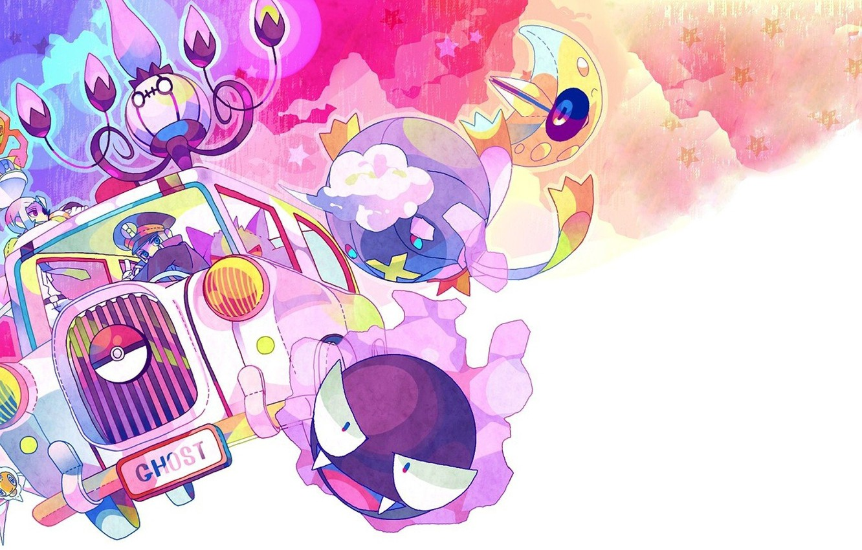 Фото обои Рисунок, автомобиль, Auto, Покемон, Pokemon, призрачный, Gengar, Генгар, Gastly, Гастли, Привидения, Шанделюр, Chandelure, Дрифблим, Drifblim