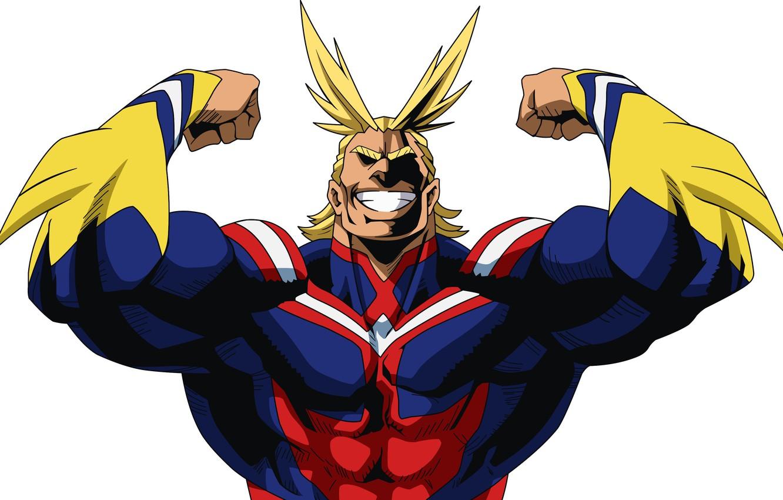 Фото обои smile, anime, blonde, hero, pose, manga, powerful, strong, uniform, yuusha, seifuku, super hero, Boku no …