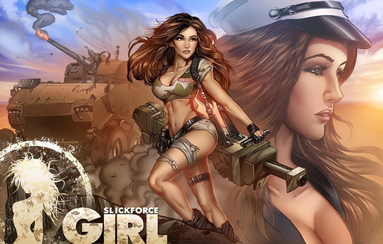 Фото обои fire, girl, soldier, pose, Melanie