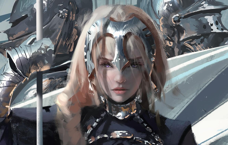 Фото обои Девушка, Рисунок, Доспехи, Girl, Глаза, Рыцари, Аниме, Арт, Art, Anime, Eyes, Armour, Artist, Fate/Apocrypha, Художник, …
