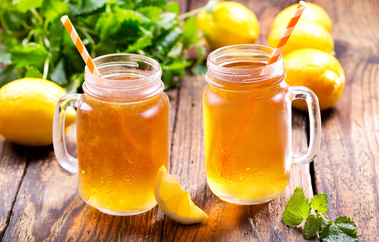 Фото обои лёд, lemon, ice, summer, кружки, мята, лимоны, drink, cocktail, tea