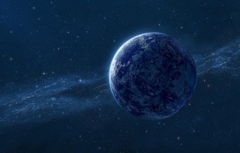 Фото обои космос, звезды, вселенная, планета