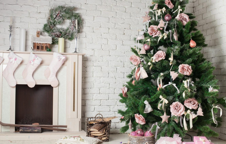Фото обои украшения, праздник, елка, свечи, Новый год, камин