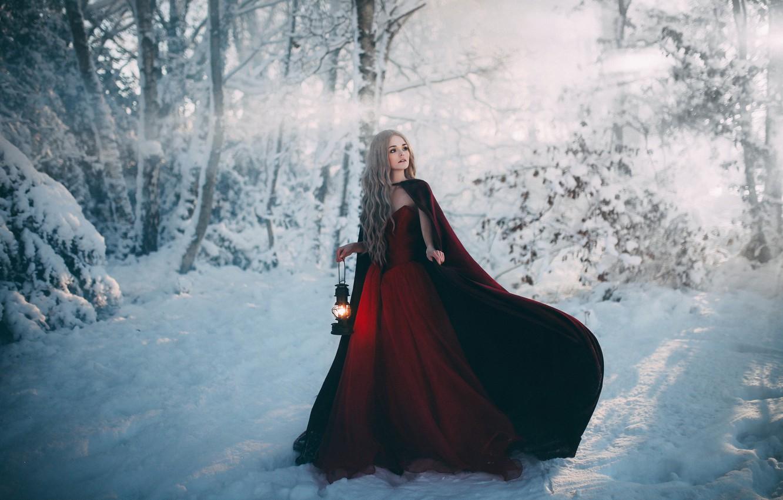 Фото обои девушка, снег, платье, фонарь, Adam Bird