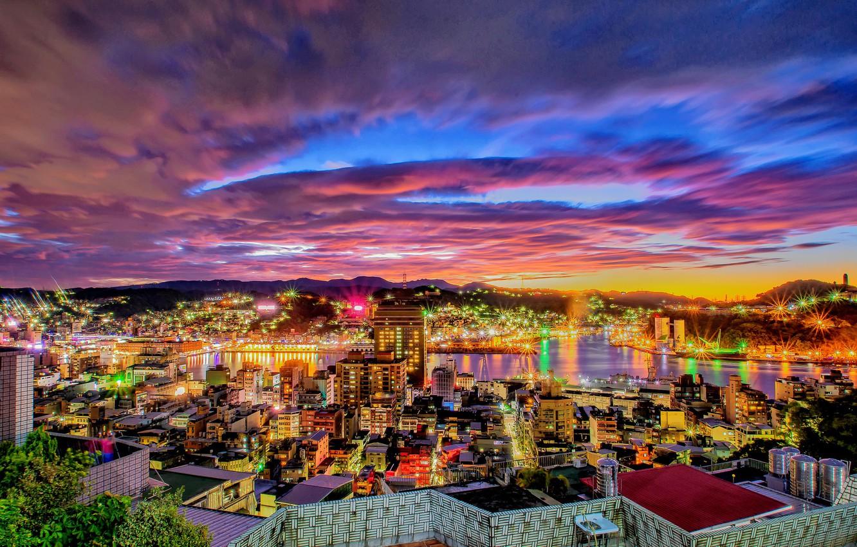 Фото обои пейзаж, город, ночные огни