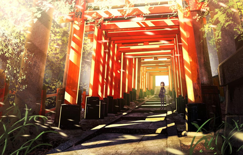 Фото обои аниме, арт, коридор, девочка