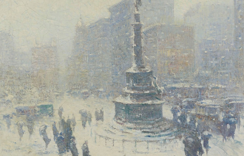 Фото обои зима, картина, площадь, городской пейзаж, Guy Carleton Wiggins, Колумбус-Серкл. Нью-Йорк