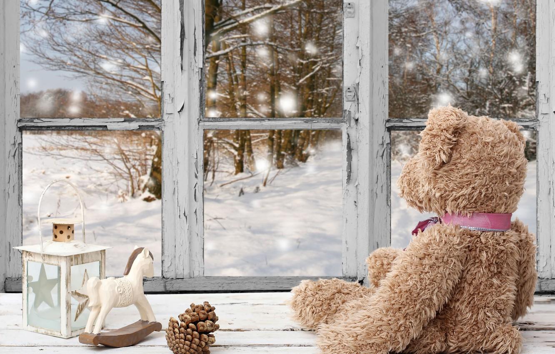 Фото обои зима, снег, украшения, Новый Год, окно, Рождество, мишка, Christmas, winter, snow, window, Merry Christmas, Xmas, …
