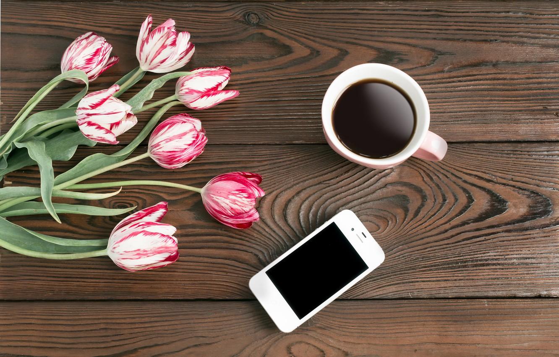 Фото обои цветы, кофе, тюльпаны, телефон