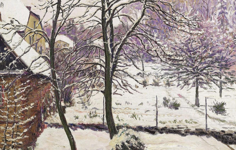 Фото обои зима, пейзаж, картина, Gustave Cariot, Гюстав Карио, Сад под Снегом