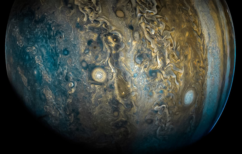 Фото обои космос, облака, Юпитер