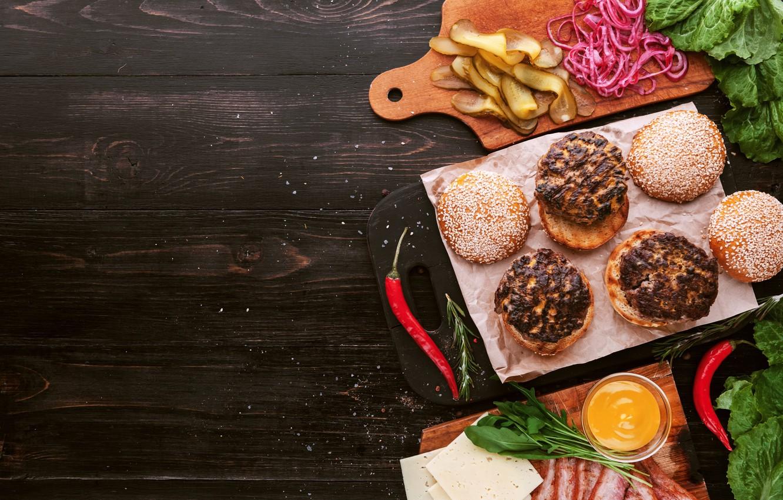 Обои котлета, Сэндвич, hamburger, Meat, Гамбургер, tomatoes, салат, булочка, Fast food, картошка фри, фастфуд, соус. Еда foto 10
