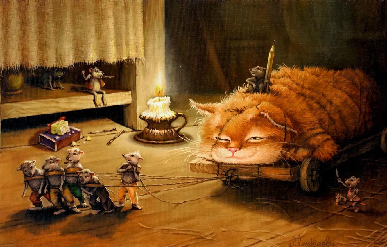 Фото обои кот, рисунок, сказка, арт, детская, Сказочки кота Кузьмы, Александр Маскаев