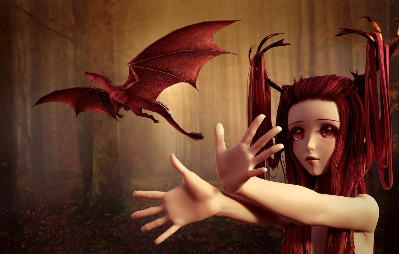 Фото обои лес, глаза, взгляд, девушка, деревья, полет, красный, лицо, туман, рендеринг, фантазия, фантастика, стволы, волосы, дракон, …
