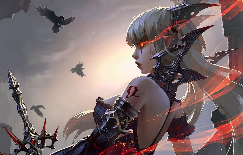 Фото обои girl, sword, fantasy, armor, weapon, Warrior, birds, tattoo, digital art, artwork, fantasy art, crows, fantasy …