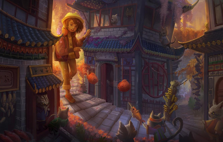 Фото обои кошка, кот, город, дом, аниме, арт, девочка, детская, Yangtian Li, Cat Town, Возвращение кота