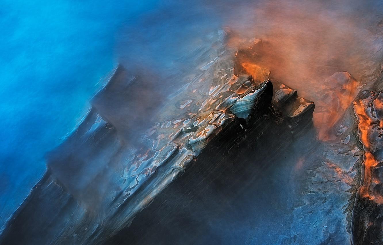 Фото обои вода, свет, камни, выдержка, дымка, мокрые скалы