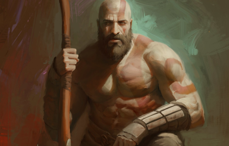 Фото обои axe, demigod, armor, Kratos, God of War, man, hero, God, chest, powerful, strong, demi god, …