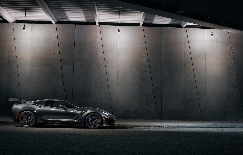Фото обои Corvette, Chevrolet, ZR1, вид сбоку, 2019