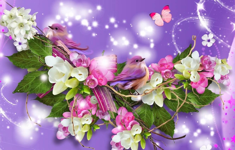 Фото обои зелень, листья, свет, цветы, рендеринг, фон, фантазия, коллаж, бабочка, весна, искры, птички, картинка, веточки, яблоневый ...