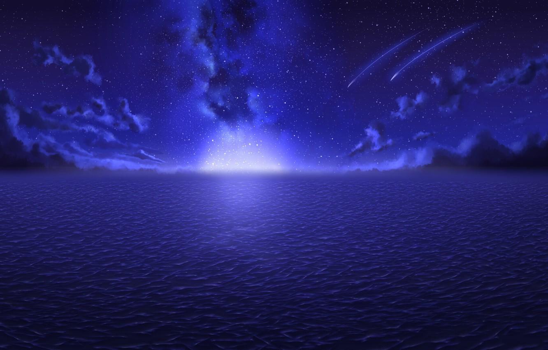 Фото обои море, облака, ночь, сияние, горизонт, Млечный Путь, звездное небо, звездопад