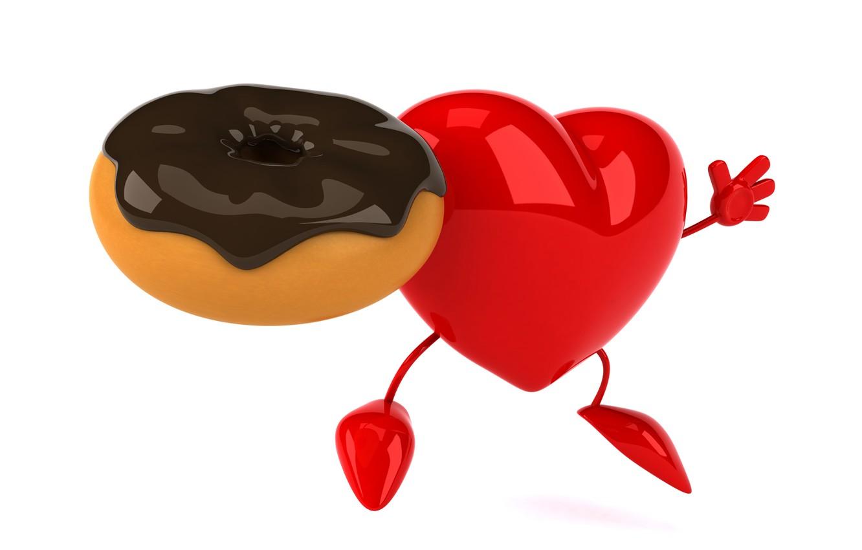 Фото обои сердце, пончик, heart, funny, rendering, donut