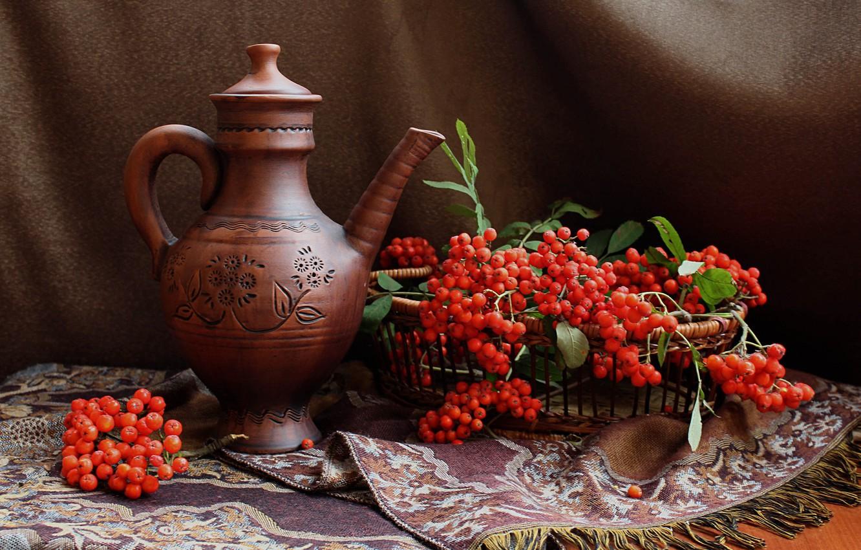 Фото обои осень, ягоды, кувшин, натюрморт, рябина