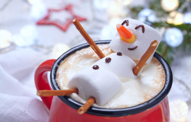 Фото обои украшения, елка, Новый Год, Рождество, чашка, снеговик, Christmas, cup, Merry Christmas, Xmas, какао, cocoa, snowman, …