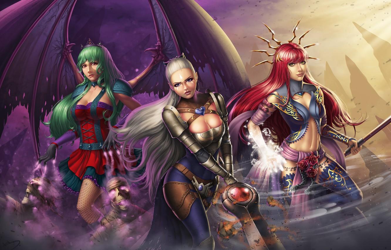 Фото обои девушка, крылья, меч, платье, воин, арт, маг, вампир, рыжая, ведьма