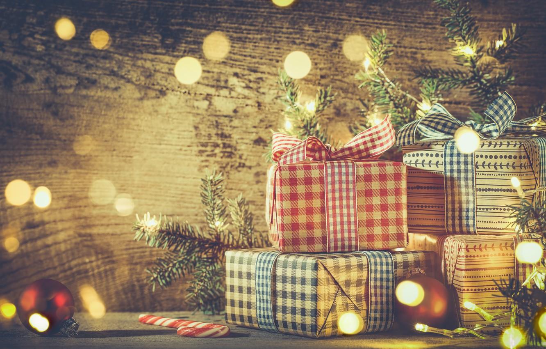 Фото обои Новый Год, Рождество, christmas, vintage, balls, merry christmas, decoration, gifts, xmas, fir tree