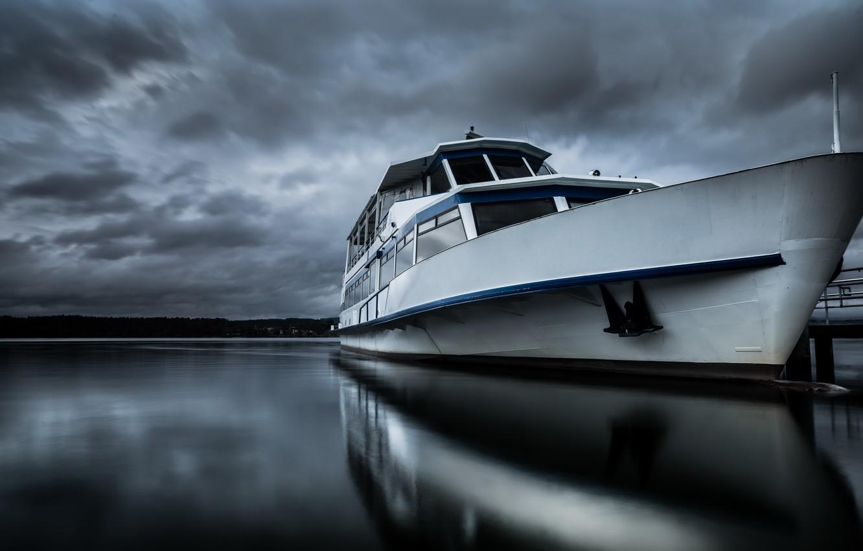 Фото обои ночь, река, корабль