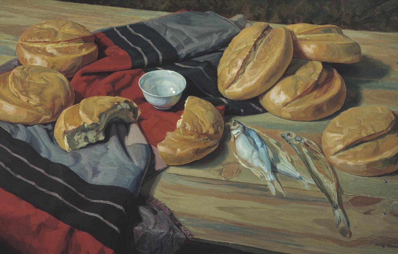 Фото обои стол, рыба, ткань, МАТОРИН Виктор, кисюшка, семь хлебов