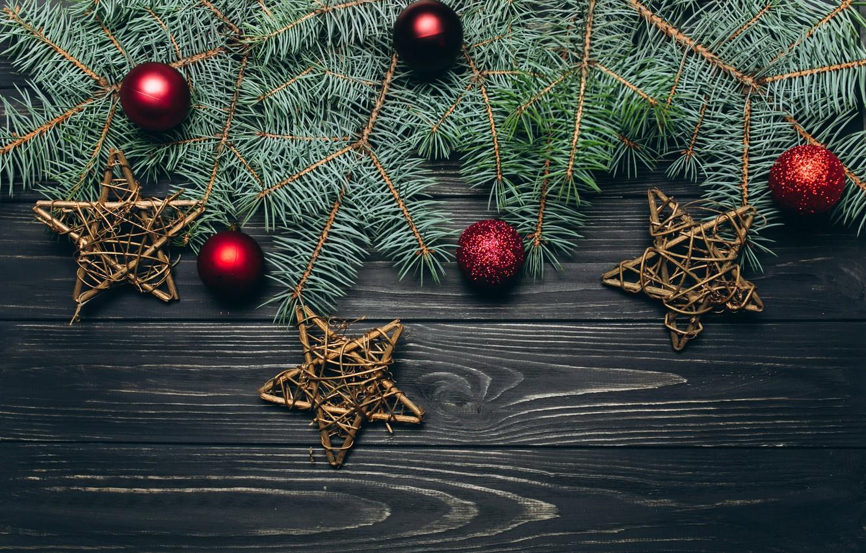 Фото обои шары, новый год, ель, украшение, здезда