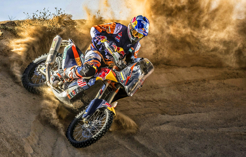 Фото обои Песок, Спорт, Скорость, Занос, Мотоцикл, Гонщик, KTM, Bike, Rally, Moto, Motorbike, Дюна