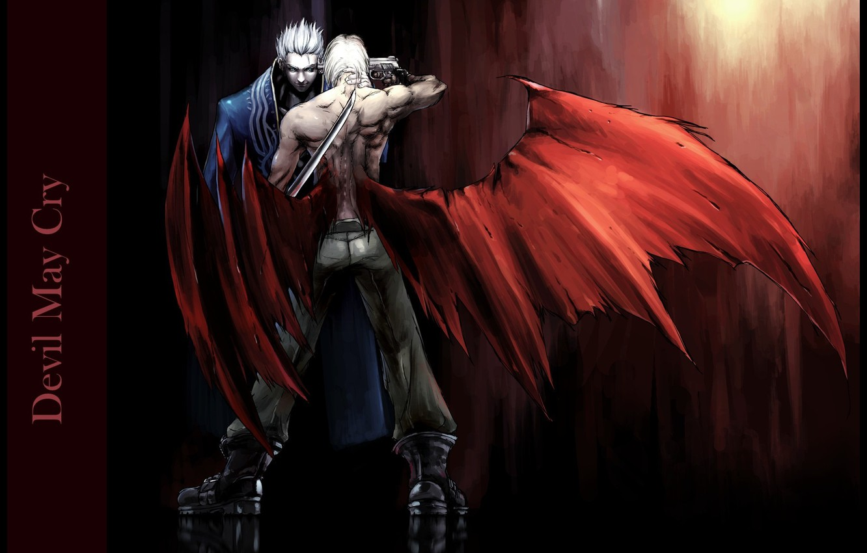 Фото обои пистолет, катана, лезвие, убийство, вампир, Dante, поединок, враги, раны, Devil May Cry, Vergil, Дьявол может …