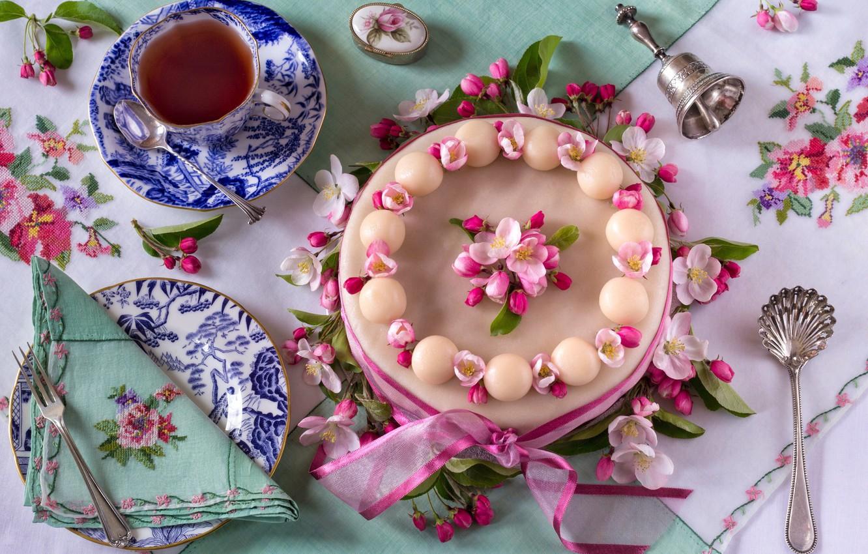 Виде открытки, картинки тортик с чаем