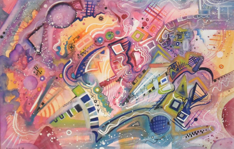 Фото обои волшебство, масло, Рисунок, пастель, маркеры, гуашь, акрил, красочность, гель, Абстракционизм, Лена Роговая, бумага для пастели. …