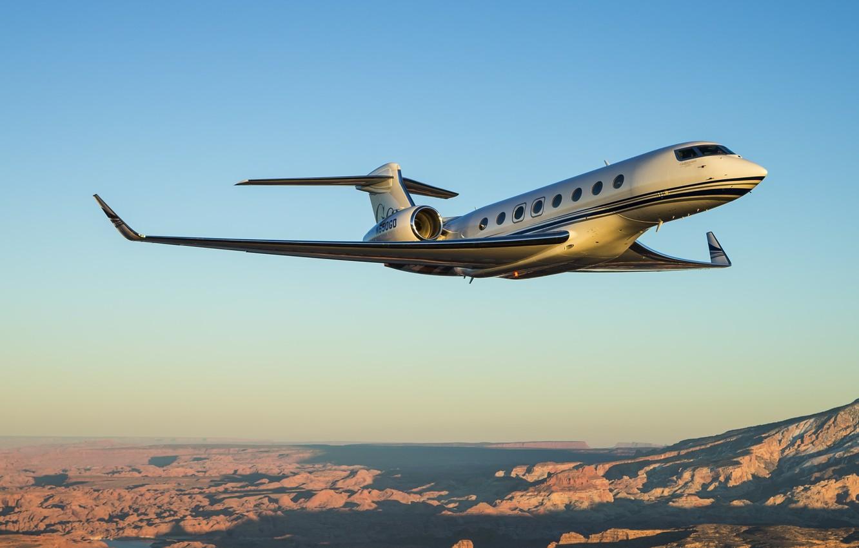 Фото обои небо, горы, полёт, самолёт, Gulfstream, G650, Aerospace, бизнес, джет