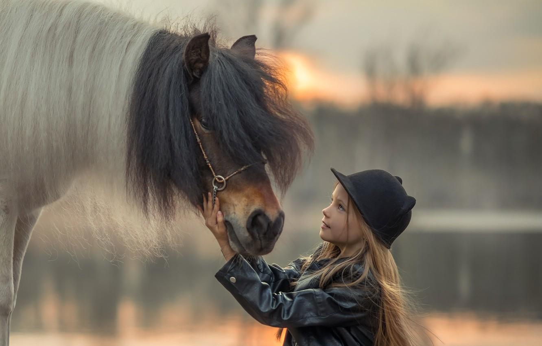 Фото обои шапка, лошадь, девочка