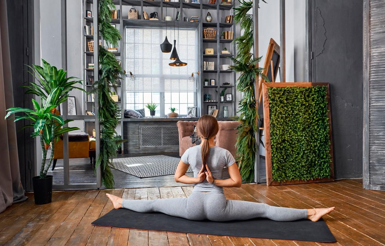 Фото обои девушка, поза, комната, гибкость, растения, фигура, стройная, футболка, прическа, йога, коврик, спортивная, шатенка, сидит, шпагат, …