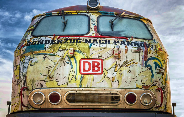 Фото обои граффити, поезд, hdr, урбан, ultra hd