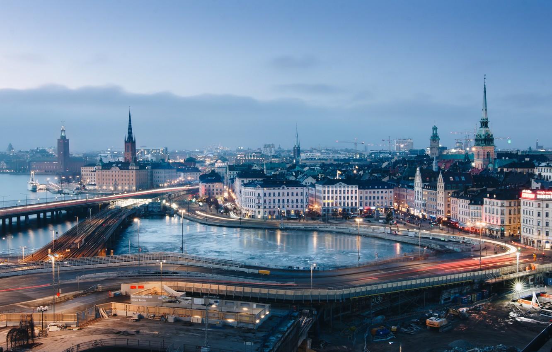 Фото обои город, огни, вечер, Стокгольм, Швеция