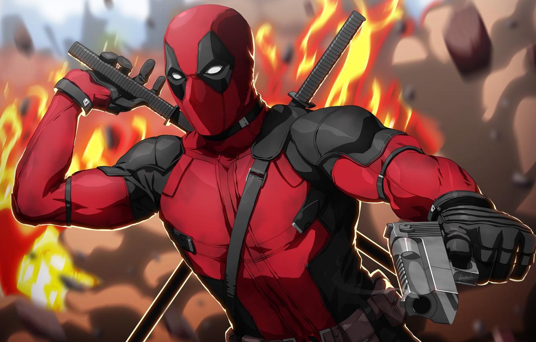 Фото обои пистолет, оружие, фантастика, огонь, маска, арт, костюм, перчатки, мечи, Deadpool, Дэдпул, комикс, катаны