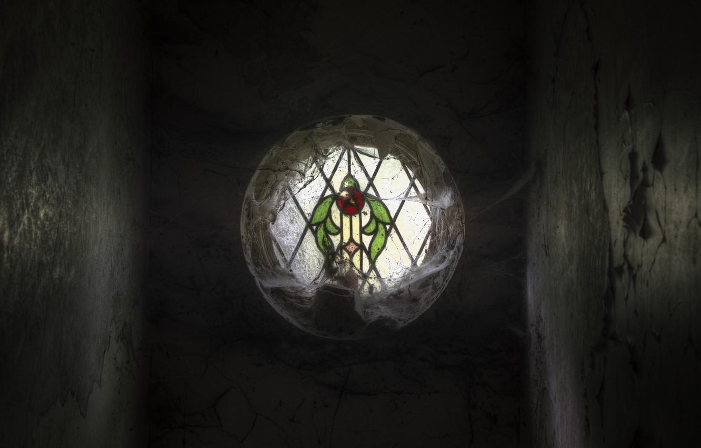 Фото обои паутина, окно, витраж